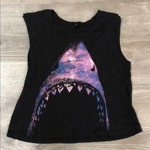 Forever 21 black shark crop tank